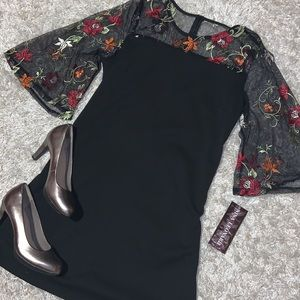 NWT! Nina Leonard Embroidered Lace Yoke Dress